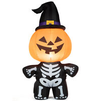 5' Halloween Inflatable Pumpkin Skeleton Lantern w/ Witch Hat & Smiling Face