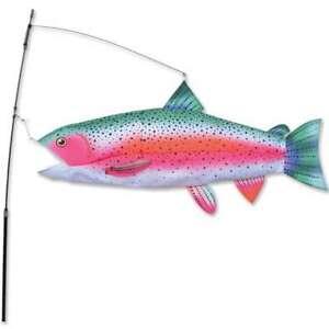 "Swimming Rainbow Trout Wind Sock Yard Stake Large 30"""