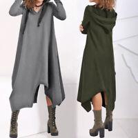 Mode Femme Sweat-shirt Couleur Unie Robe Asymétrique Manche Longue à capuche