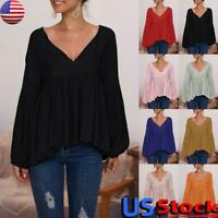 US Women V Neck Casual Solid T Shirt Tops Ladies Long Sleeve Loose Tunic Blouse