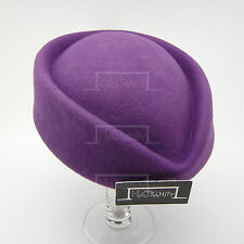 VINTAGE Wool Felt Ladies Pillbox Hat Women Party ELEGANT Fascinator | Purple
