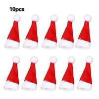 10pcs Mini Santa Claus Hat Christmas Decor Party Xmas Lollipop Top Lots Hol Z6Q0