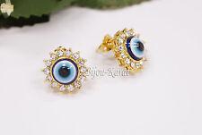 Funkelnde Gold Ohrstecker Nazar Evil Eye Strass Ohrringe Magisches Blaues Auge