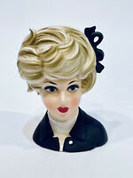 "VINTAGE 7.25"" NAPCOWARE C8497 LADY HEAD VASE BLONDE PEARL BOW JAPAN"