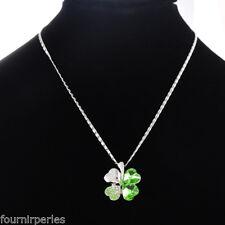 5 Collier Chaîne Pendentif Trèfle Strass Vert Bijoux Mode 41.4cm FP