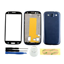 Full Housing Case Cover Screen Glass Repair For Samsung Galaxy S3 i9300 Blue