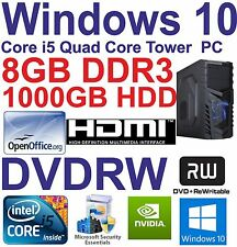 A Windows 10 Core i5 Quad Core HDMI Gaming Tower PC 8GB DDR3 - 1000GB HDD DVD-RW