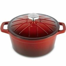 VonShef 4.5l Red Enamel Cast Iron Oven Casserole Dish Stewing Cooking Pot1
