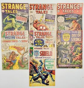 7) 1963-1968 Strange Tales Marvel Comic Book Lot #87 #90 #99 #116 #149 #151 #165
