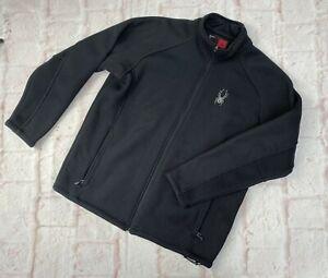 Men's Spyder Morotcycle Zip Up Fleece Heavy Jacket Black Mens Large