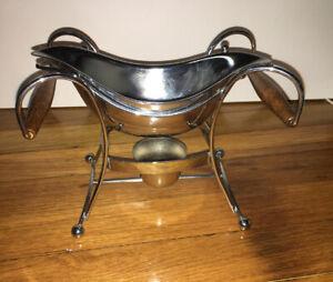 2 Pc Warmer. Silver & Wood Gravy Boat Server.  Votive / Tea light keeps Warm