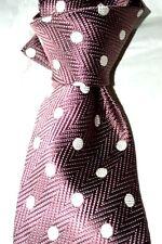 "$295 NWOT TOM FORD Mauve w/ white Spots 3.9"" Herringbone jacquard silk tie ITALY"