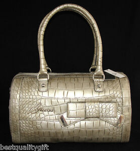 GUESS BY MARCIANO STONE SUMMERLAND PATENT LEATHER CROC PRINT TOTE, HANDBAG-NEW