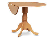 "42"" Round Dublin drop-leaf pedestal kitchen table without chair light oak finish"