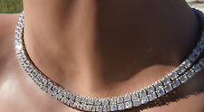 Sterling Silver COUNTRY STRONG clear round double 4mm cubic zirconia NECKLACE 32