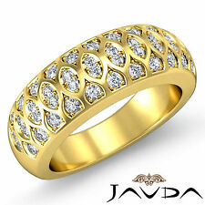 Antique Womens Half Wedding Ring Round Pave Diamond Band 18k Yellow Gold 0.51Ct