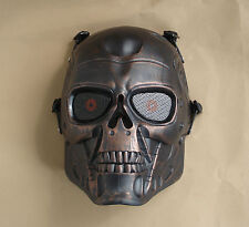 Akagane color Paintball Gun Full Face Protection T800 Terminator Skull Mask Prop