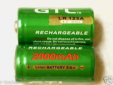 2 pc GTL 16340 RECHARGEABLE BATTERY CR123A 3.6v LITHIUM LIR123A 2000mAh Green