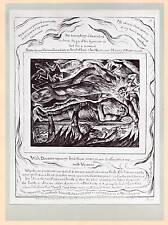 1906 William Blake Monocromo placa Libro de Job ~ Satanás transformado en Angel