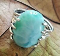 Larimar Ring 925 Sterling Silver Solitaire Ring Dominican Ring Four Stack Design