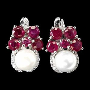 Round Red Ruby 3mm Pearl Cz 14K White Gold Plate 925 Sterling Silver Earrings