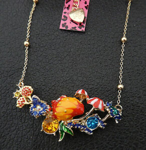 Betsey Johnson Multi-Color Enamel Crystal Flower Coral Conch Pendant Necklace