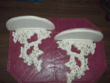 "Nice Vintage Sconces Shelves Branches Off White 9 x 10"" Each"