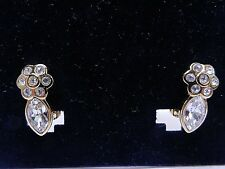 Signed Swarovski Earrings Flower Clear Pave Crystal Gold Plated Clip on