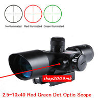 2.5-10x40 20mm Rail Mount For Rifle Red Green Dot Optic Scope Laser Sight Cross