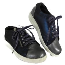 Sneakers Womens 7 M Gravity Defyer Comfort Support Blue Gray Leather Lace Up Zip