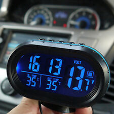 Blue+Orange Auto Car Digital LCD Monitor Thermometer Voltage Alarm Clock 12V-24V