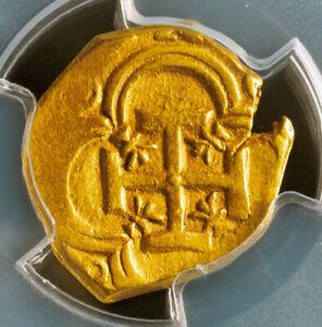 1621, Spain, Philip III. Scarce Gold 2 Escudos Cob Coin. Top Pop 1/0! PCGS AU58!