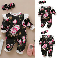 2Pcs Infant Baby Girls Floral Long Ruffled Sleeve Rompers+Headband Outfits Fit