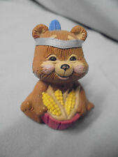 Hallmark Cards Inc. Thanksgiving, Merry Minature Bear As Indian With Corn 1988