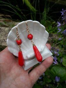 EARRINGS lipstick red long glass drops + 8 mm Japan Millefiori beads FANCY DRESS
