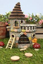 New Miniature/Fairy Garden Castle with Balcony - Stone Effect- LED- SOLAR -22cm