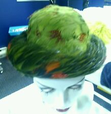 Vintage 50's -60's Lucila Mendez Feather Hat Green Wool Bowler