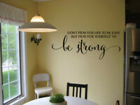 DON'T PRAY FOR LIFE TO BE EASY VINYL WALL DECAL WORDS LETTERING STICKER DIY