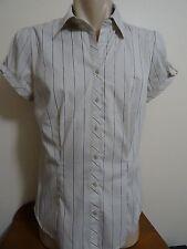 Target NWT Beige & Brown Metallic Stripe Short Sleeve Womens 14 Blouse