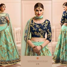 Royaume-Uni-Indien/Pakistanais Bollywood Designer Comme neuf green & blue Lengha, Chanya Choli