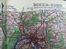 "WW2 (1944) British Army / RAF MAP entitled ""ROUEN - PARIS"" (Normandy Breakout)"