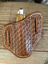 Custom Tooled Basket Weave Trapper Knife sheaths Pancake Style