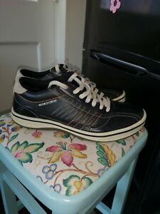 Skechers Mens Black Trade 92 Mark Leather Sneaker Trainer shoe Size Uk 8.5