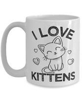 I Love Kittens Coffee Mug Large 15oz White Tea Cup Gift for Beagles Animal Lover