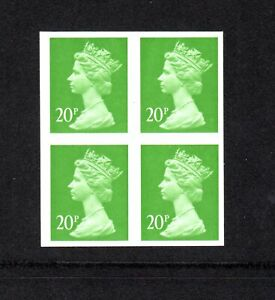 SG Y1685A CENTERBAND TOTAL IMPERF BLOCK 4 STAMPS CAT £700 20p MNH MISTAKE ERROR