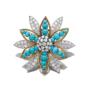 Amazing Blue Turquoise With Genuine White 4.69CT CZ Flower Head 925 SS Brooch