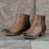 CORRAL Womens Burnished Brown Double Zipper Ankle Cowgirl Boots Q0025 NIB Size