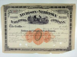 Atchison & Nebraska Railroad Co., 1870s Unissued Capital Stock Certificate, Fine
