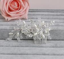 Pearls Bridal Accessories Floral Rhinestone Headdress Wedding Hair Comb 1 Piece