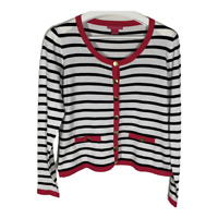 Sunny Leigh Womens Cardigan Sweater Button Up Long Sleeve Striped Size Small